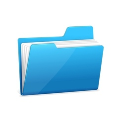 Blue file folder with documents vector image