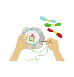 Child Doing Embroidery With Only vector image