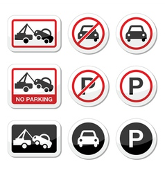 No parking parking forbidden red and black sign vector image vector image