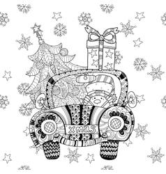 Christmas car gift doodle zentangle vector image vector image