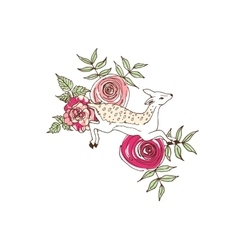 Deer in scarf on flower background vector image vector image