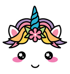 kawaii cute unicorn face rainbow pastel color with vector image vector image