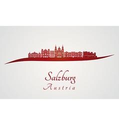 Salzburg skyline in red vector image vector image