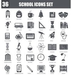 School black icons set Dark grey symbols vector image vector image