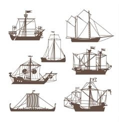 Set of vintage sailing ships vector image
