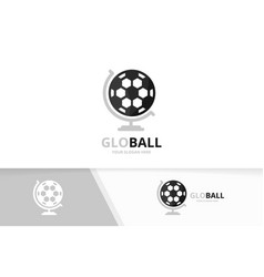 soccer and globe logo combination ball vector image vector image