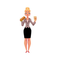 young blond businesswoman eating sandwich holding vector image vector image