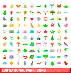 100 national park icons set cartoon style vector image