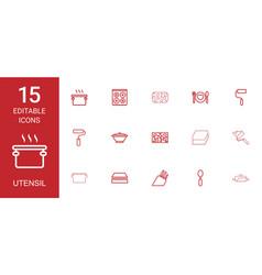 15 utensil icons vector image