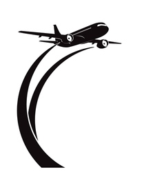 Airplane silhouette on white background vector image