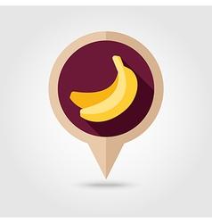 Banana flat pin map icon Tropical fruit vector