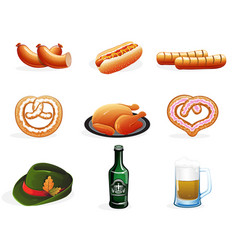 Beer and snacks icons vector