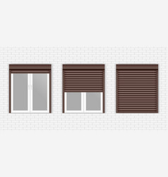 brown window shutters on gray brick wall vector image