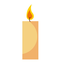 burning candle flame on white background vector image