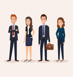 Business people group avatars characters vector