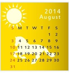 calendar 2014 august vector image