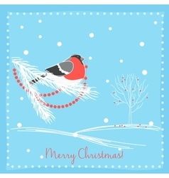 Christmas bullfinch bird on the branch tree vector image