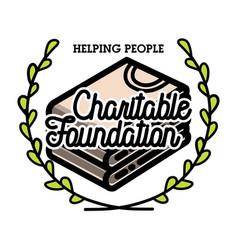 Color vintage charitable foundation emblem vector