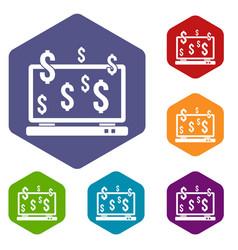 computer monitor and dollar signs icons set vector image