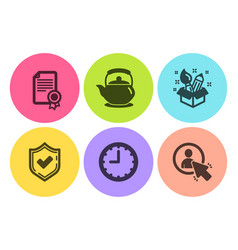 Confirmed certificate and creativity icons set vector