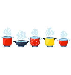 cooking kitchen pots cartoon boiling saucepan vector image