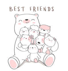 Cute baby animal cartoon hand drawn style vector