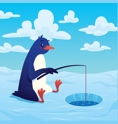 Cute cartoon penguin fisher fishing with a fishing vector