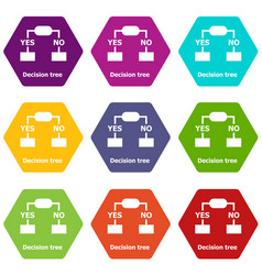Decision tree icons set 9 vector
