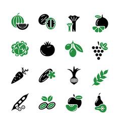Digital green black vegetable icons vector