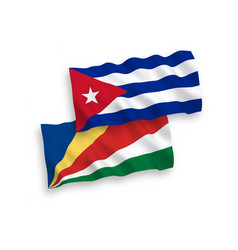 Flags seychelles and cuba on a white background vector