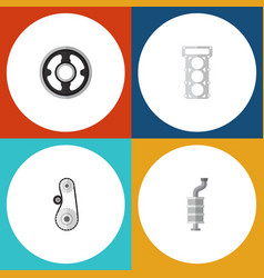 flat icon parts set of cambelt belt packing and vector image