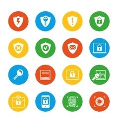 Flat security icons set vector