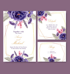Floral wine wedding card design with peony vector