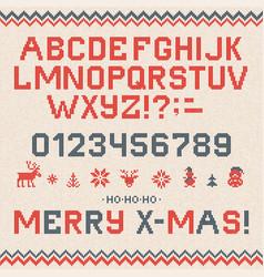 Folk christmas font scandinavian style knitted vector