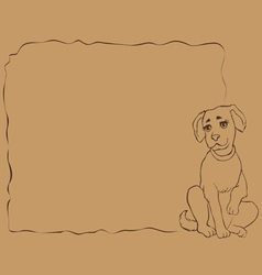 frame with puppy vector image