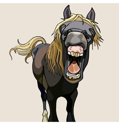 funny horse neighs wide open mouth vector image