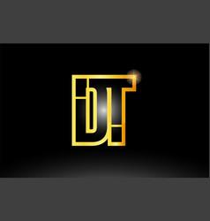 Gold black alphabet letter dt d t logo vector