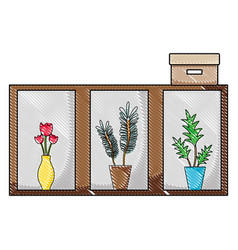 Grated wood shelf with flowers inside jar and box vector
