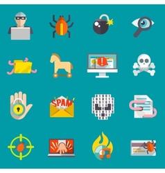 Hacker icons flat set vector image vector image