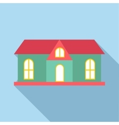 House with red roof icon flat style vector