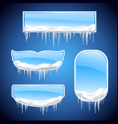 icicles frames realistic icon set vector image