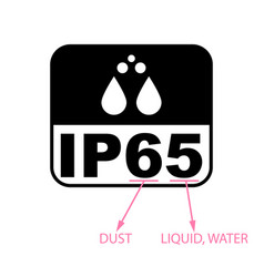 Ip65 protection certificate standard icon water vector