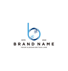 Letter b pixel tech logo design vector