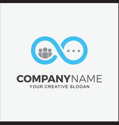 Logo modern infinite people chatting vector