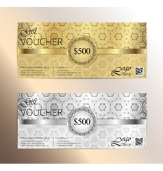 Luxury golden and silver gift certificate vector