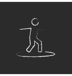 Man on a surfboard icon drawn in chalk vector