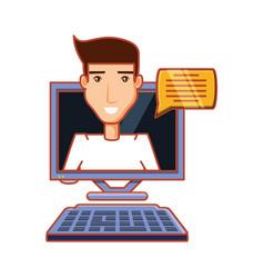 Man with computer desktop and speech bubble vector