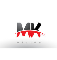 Mk m k brush logo letters with red and black vector