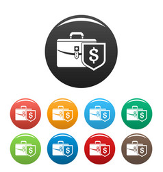 money leather case icons set color vector image