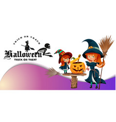 Mother and daughter in halloween costumes poster vector